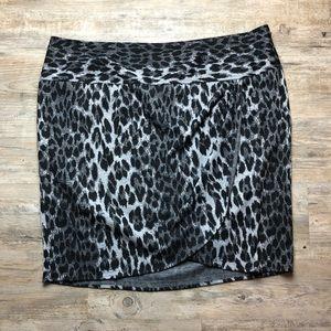 Lane Bryant animal print faux wrap skirt